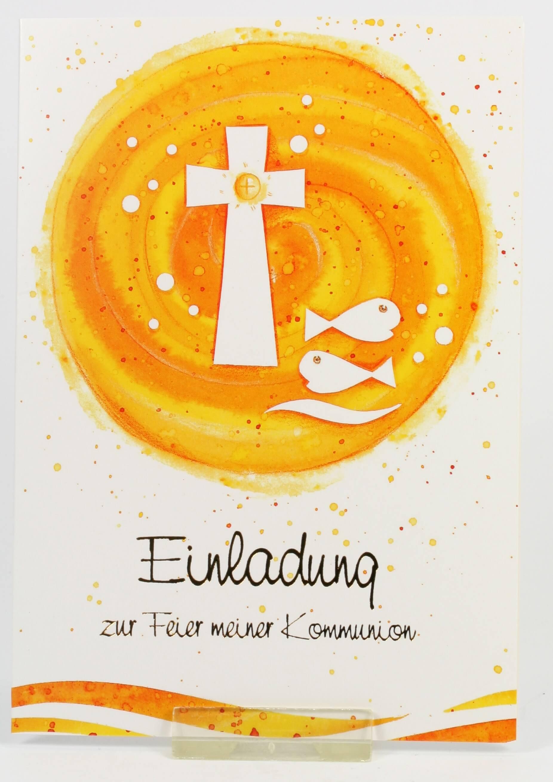 Ideen F303274r Weihnachtskarten.Kommunionkarten Einladung Kreuz U Fische 5er Set