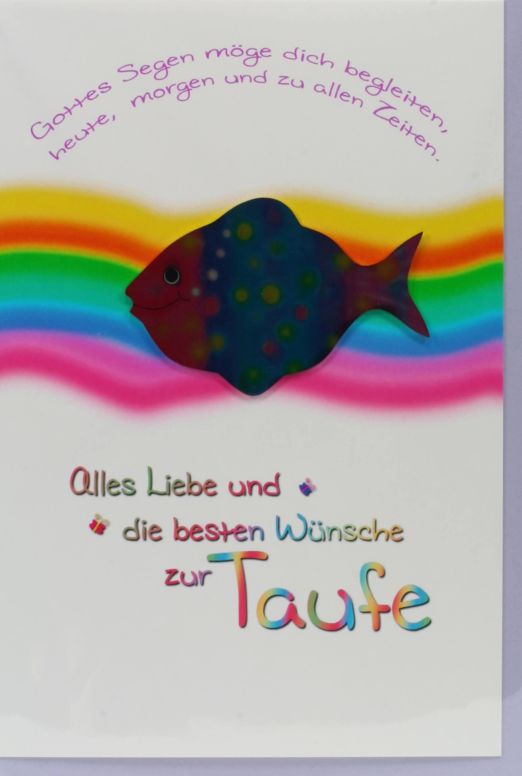 Karte zur Taufe - Regenbogen & Metall-Fisch