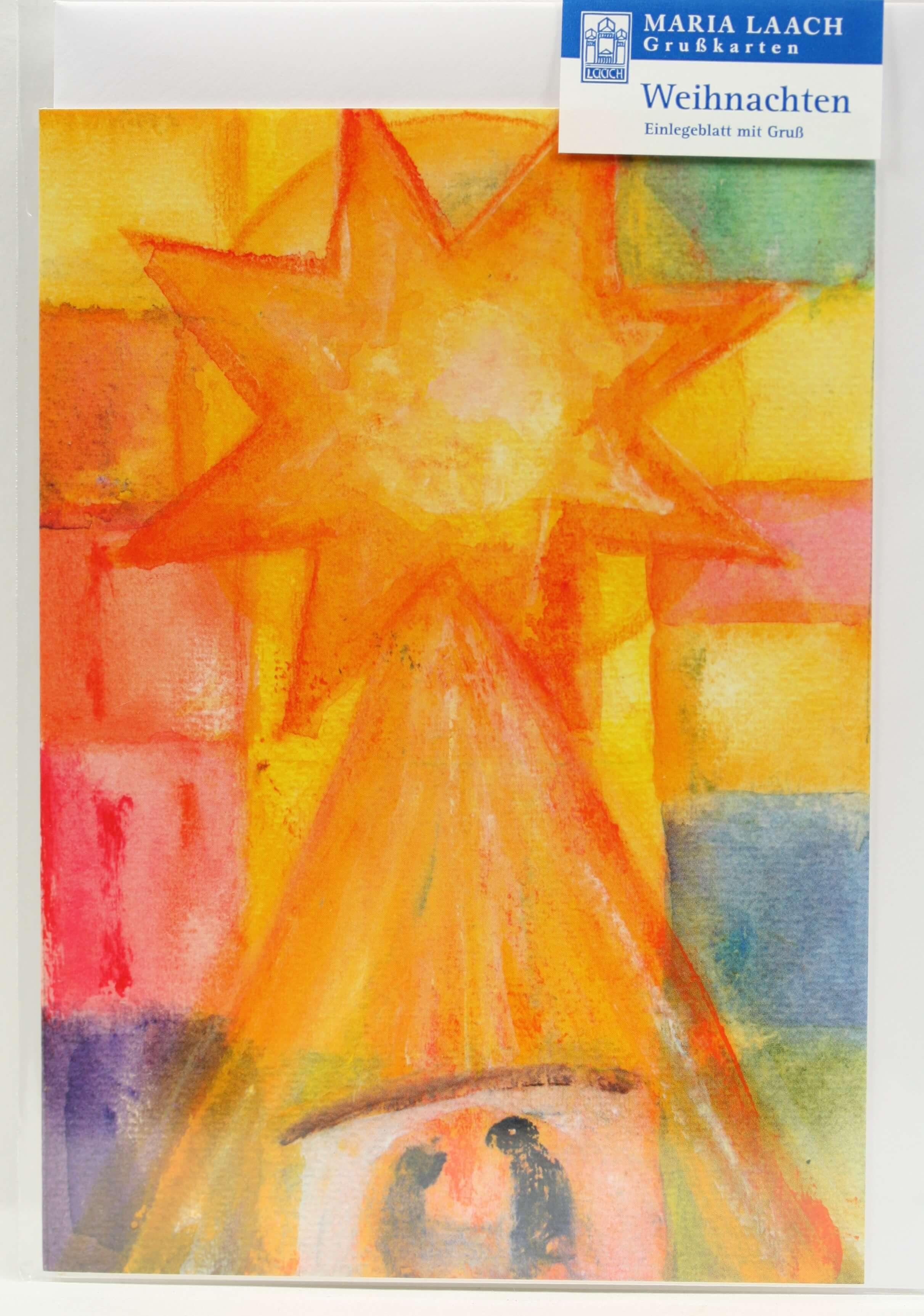 Religiöse Weihnachtskarten.Weihnachtskarte Stern über Der Krippe