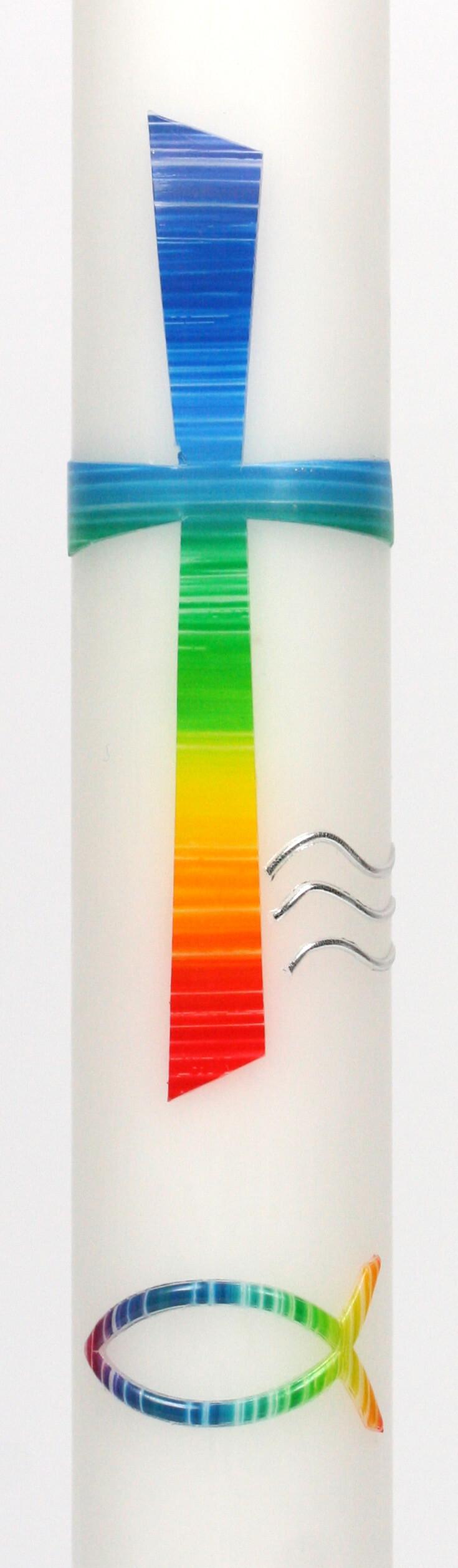 Taufkerze Kreuz und Regenbogenfarben