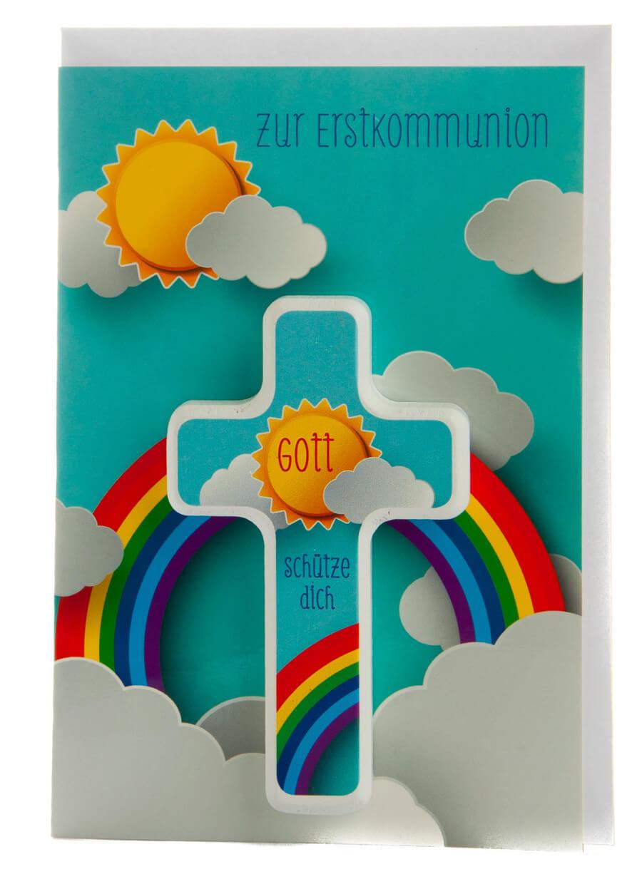 karte zur erstkommunion sonne mit regenbogen holzkreuz