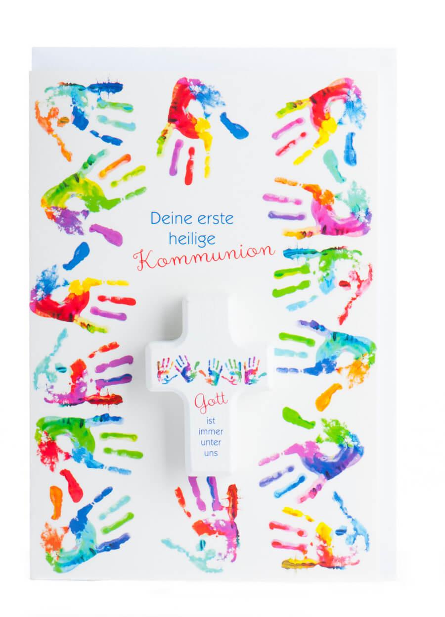Erstkommunion Sprüche Karte Zur Erstkommunion Bunte Hände Handschmeichler