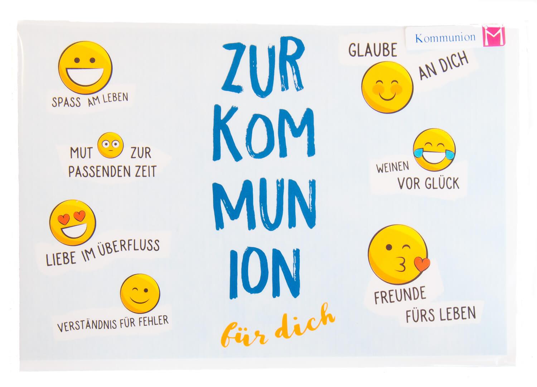Karte zur Kommunion - Smiley-Gesichter
