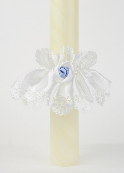 Kerzentülle - weiß-blau
