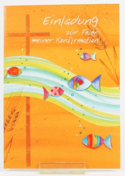 Konfirmationskarten - Einladung & Welle u. Fische - 5 Stk