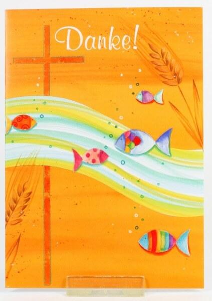 Kommunionkarten - Danksagung & Welle u. Fische - 5er Set