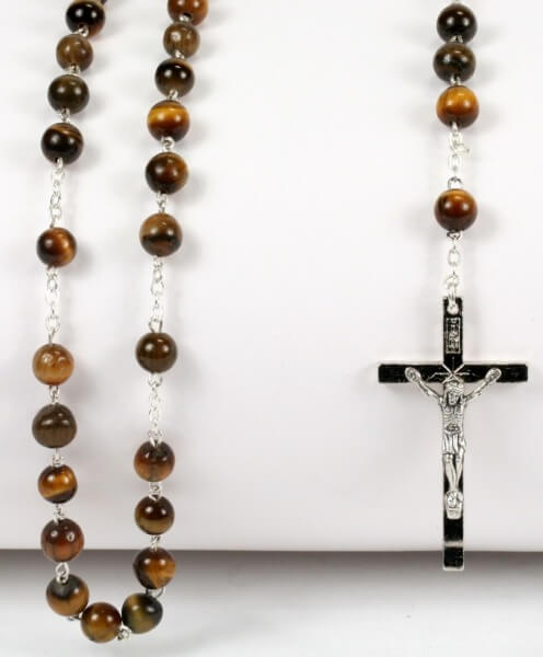 Rosenkranz - Tigerauge & Silberfarbenes Kreuz