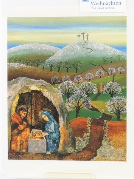 Weihnachtskarte - Kreuz & Krippe