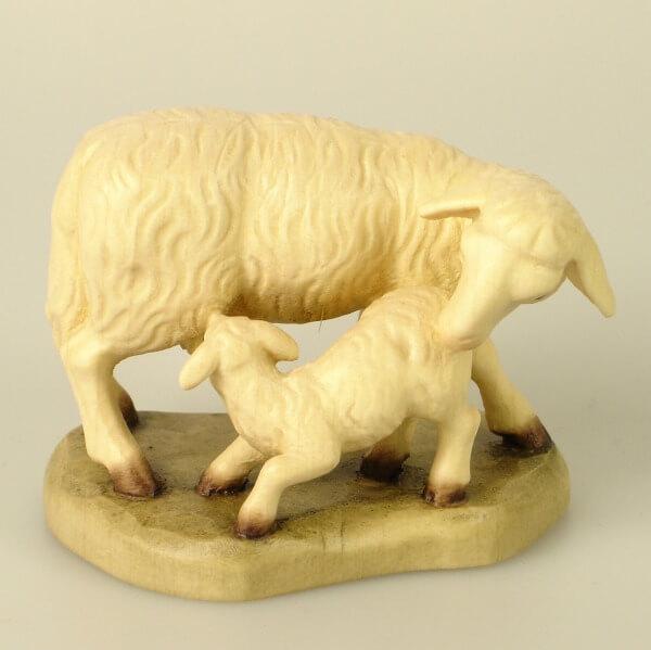 Karl-Kuolt-Krippe - Schaf stehend mit Lamm