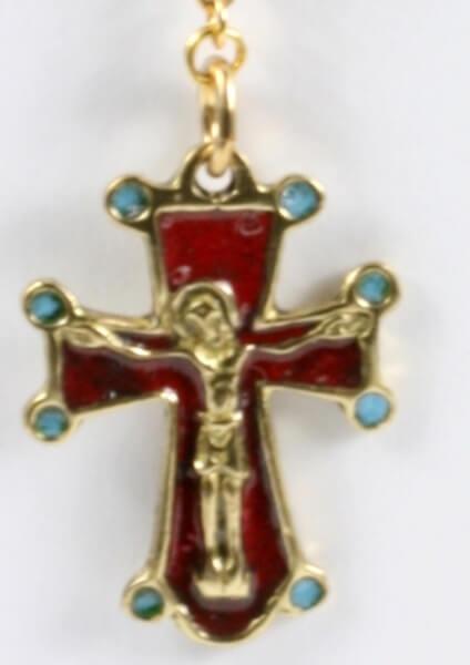 Rosenkranz - Granat & Modernes Kreuz