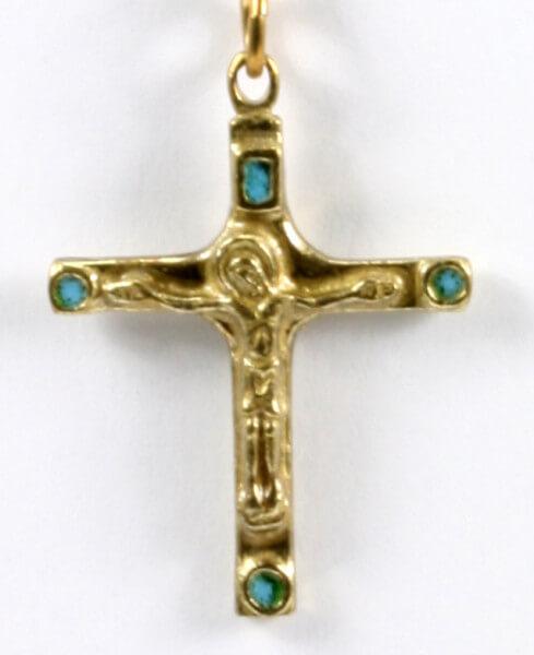 Rosenkranz - Grüner Quarz & Modernes Kreuz