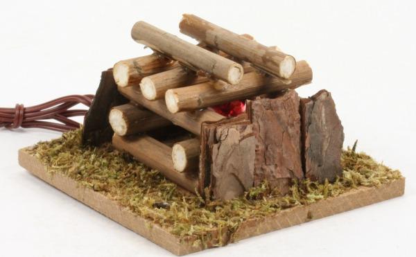 Krippen-Zubehör - Holzstapel & Feuer