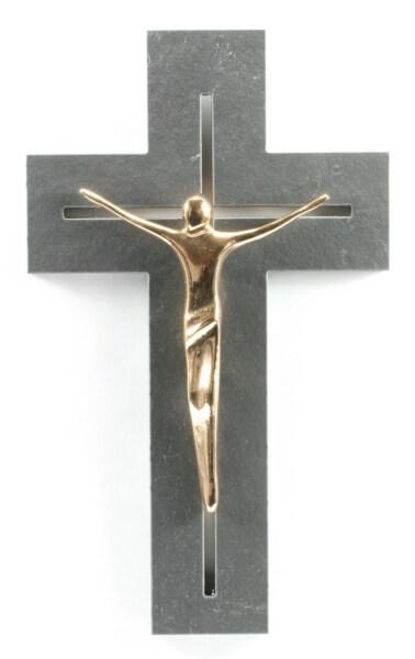 Schieferkreuz - Längliche Form & Bronze-Korpus