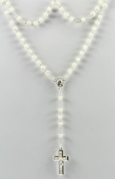 Rosenkranz - Perlmutt-Perle & Glänzendes Kreuz