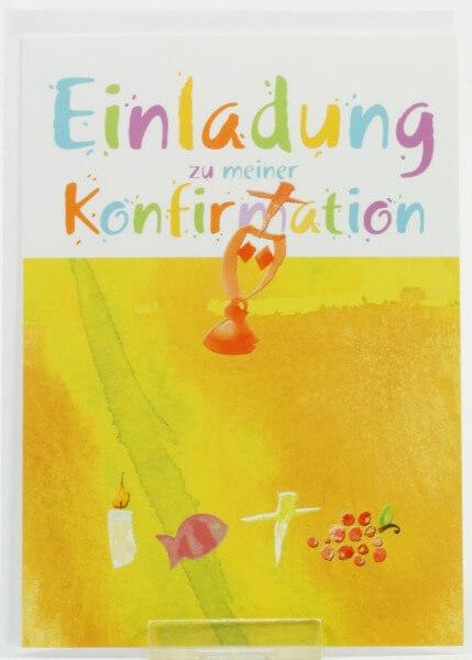 Konfirmationskarten - Einladung & Farbige Symbole - 5 Stk