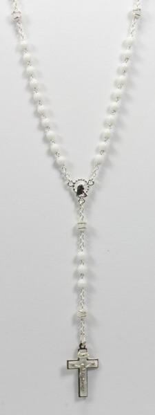 Rosenkranz - Weiße Glasperle & Silber-Weißes Kreuz