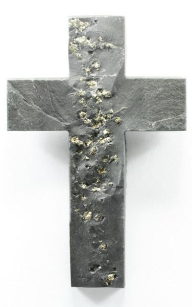 Schieferkreuz - Pyrit & Handgeschnitten