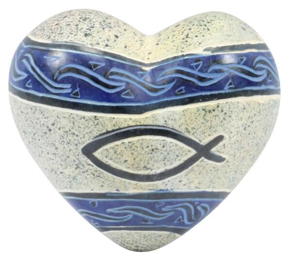 Handschmeichler - Blaues Herz & Fischmotiv