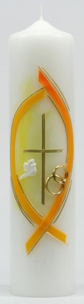 Brautkerze - Gelbe Umrandung & Ringe