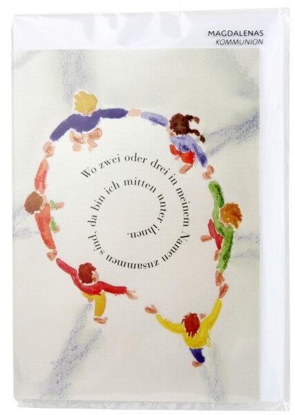 Kommunionkarte - Kreis aus Kindern