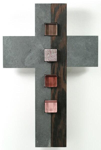 Schmuckkreuz - Schiefer, Holz & Glassteine