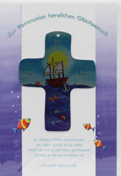 Kommunionkarte - Ich bin bei dir & Metall-Kreuz