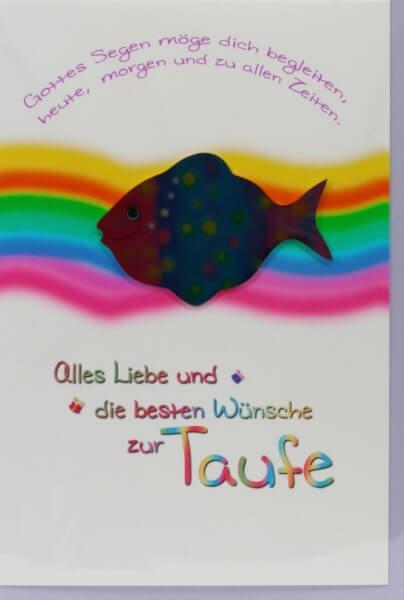 Karte Zur Taufe Regenbogen Metall Fisch Artikel Nr Wwk174