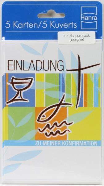 Konfirmationskarten - Einladung & Glänzende Symbole