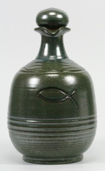 Keramikkrug - Grün & Fisch