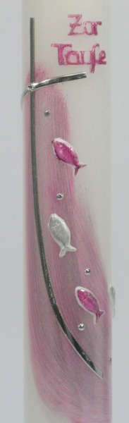 Taufkerze - Zur Taufe & Fische