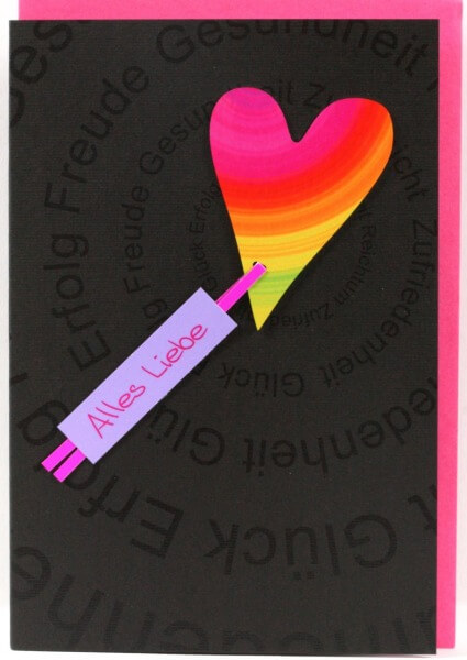 Neutrale Karte - Alles Liebe & Metall-Herz