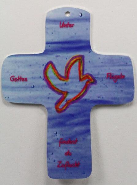 Metall-Kreuz - Unter Gottes Flügeln