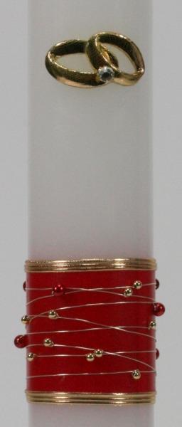 Hochzeitskerze - Goldene Ringe & Rotes Perlenband