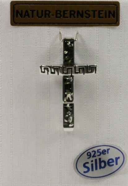 Silber-Anhänger - Bernstein-Kreuz & Grün