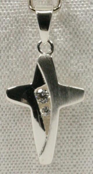 Silber-Kreuz - Kantig & Zirkonia