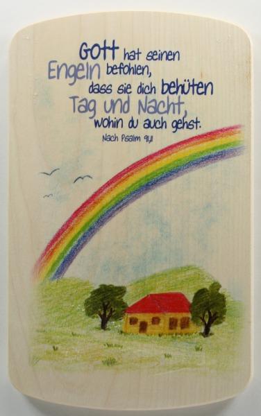 Holzbildtafel - Gott hat seinen Engeln befohlen…