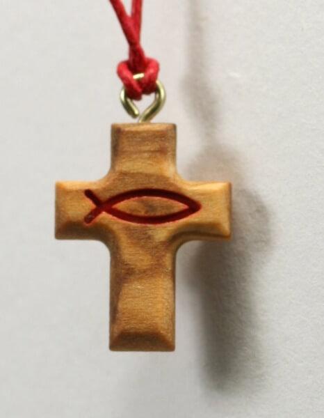 Halskette - Olivenholzkreuz & Roter Fisch