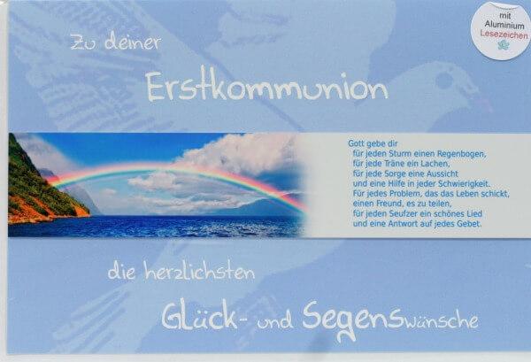 Kommunionkarte - Regenbogen & Lesezeichen