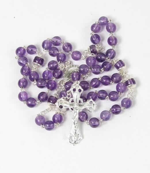 Rosenkranz - Amethyst & Silberfarbenes Kreuz