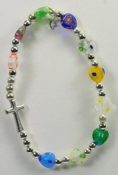 Armband - Muranoherzen, Perlen & Kreuzchen