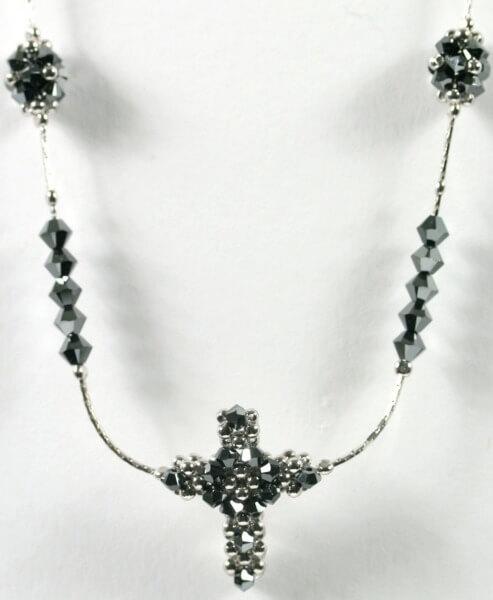 Silber-Kette - Geöffnetes Herz & Silber-Schwarz