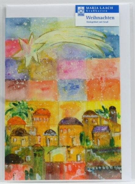 Religiöse Weihnachtskarten.Weihnachtskarte Weihnachtskarte Stern über Bethlehem Artikel Nr Wwk1689