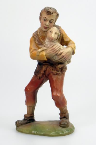 Künstler-Krippe - Hirt jung m. Schaf im Arm