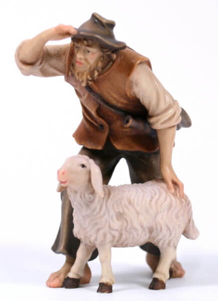 Kostner-Krippe - Hirt stehend mit Schaf