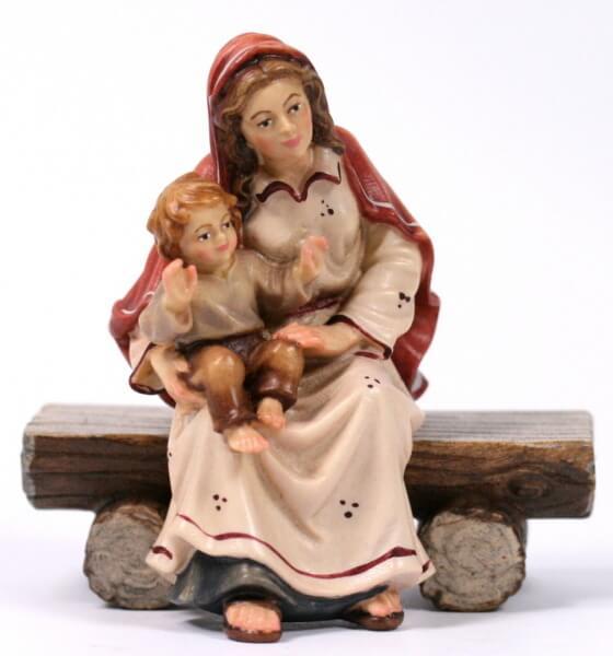 Kostner-Krippe - Hirtin sitzend mit Kind