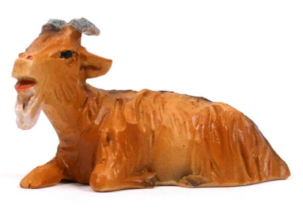 Bayrische Künstler-Krippe - Ziege liegend