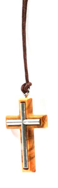 Halskette - Olivenholz & Metallkreuz