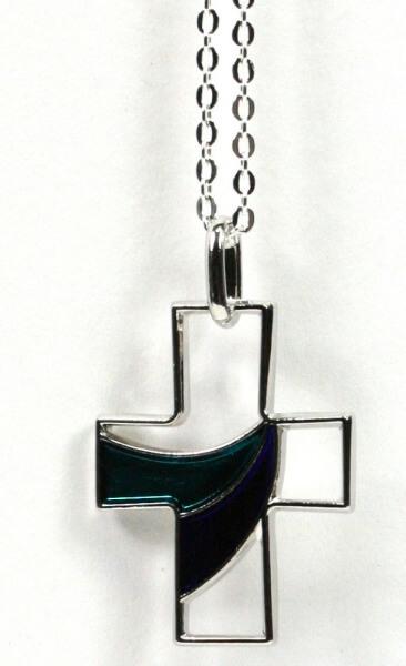 Halskette - Kreuz & Blau-Grün