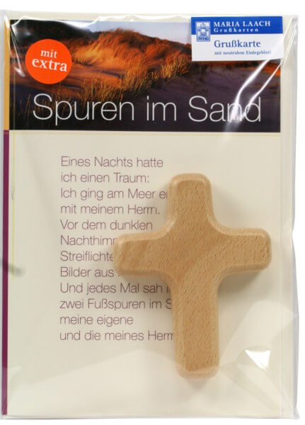 Neutrale Karte - Spuren im Sand & Kreuz