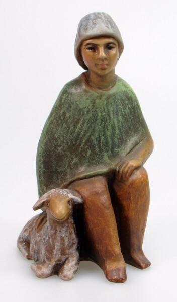 Gelenberg-Krippe - Hirt sitzend mit Schaf - 18 cm